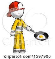 Poster, Art Print Of White Firefighter Fireman Man Frying Egg In Pan Or Wok Facing Right