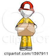White Firefighter Fireman Man Holding Box Sent Or Arriving In Mail