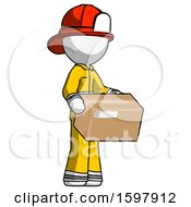 White Firefighter Fireman Man Holding Package To Send Or Recieve In Mail