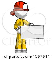 White Firefighter Fireman Man Presenting Large Envelope