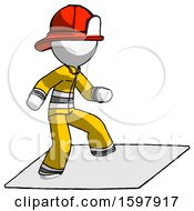 White Firefighter Fireman Man On Postage Envelope Surfing