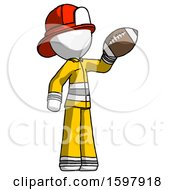 White Firefighter Fireman Man Holding Football Up