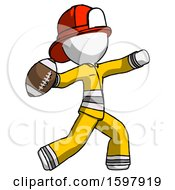 White Firefighter Fireman Man Throwing Football