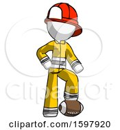 White Firefighter Fireman Man Standing With Foot On Football