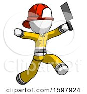White Firefighter Fireman Man Psycho Running With Meat Cleaver