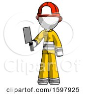 White Firefighter Fireman Man Holding Meat Cleaver