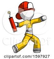 White Firefighter Fireman Man Throwing Dynamite