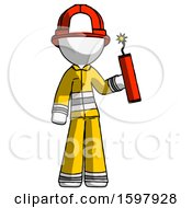 White Firefighter Fireman Man Holding Dynamite With Fuse Lit
