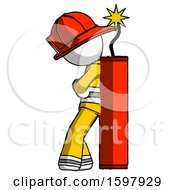 White Firefighter Fireman Man Leaning Against Dynimate Large Stick Ready To Blow