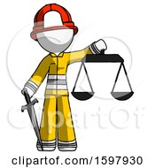 White Firefighter Fireman Man Justice Concept With Scales And Sword Justicia Derived