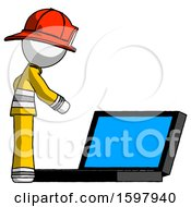 White Firefighter Fireman Man Using Large Laptop Computer Side Orthographic View