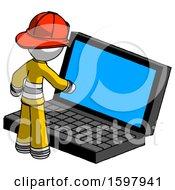 White Firefighter Fireman Man Using Large Laptop Computer