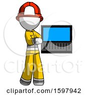 White Firefighter Fireman Man Holding Laptop Computer Presenting Something On Screen