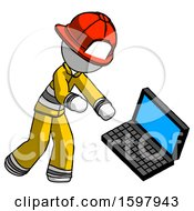 White Firefighter Fireman Man Throwing Laptop Computer In Frustration