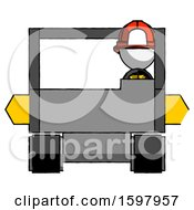 White Firefighter Fireman Man Driving Amphibious Tracked Vehicle Front View
