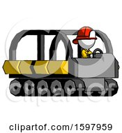 White Firefighter Fireman Man Driving Amphibious Tracked Vehicle Side Angle View