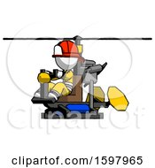 White Firefighter Fireman Man Flying In Gyrocopter Front Side Angle View