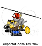 White Firefighter Fireman Man Flying In Gyrocopter Front Side Angle Top View