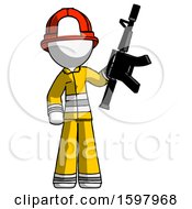 White Firefighter Fireman Man Holding Automatic Gun