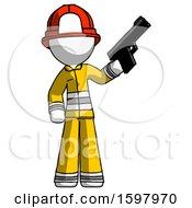 White Firefighter Fireman Man Holding Handgun