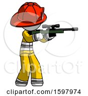 White Firefighter Fireman Man Shooting Sniper Rifle
