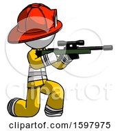 White Firefighter Fireman Man Kneeling Shooting Sniper Rifle