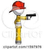 White Firefighter Fireman Man Firing A Handgun