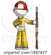 White Firefighter Fireman Man Holding Staff Or Bo Staff