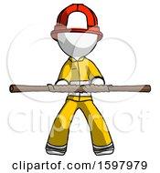 White Firefighter Fireman Man Bo Staff Kung Fu Defense Pose