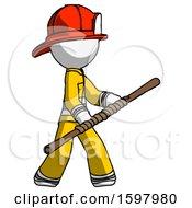 White Firefighter Fireman Man Holding Bo Staff In Sideways Defense Pose