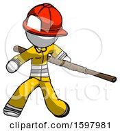 White Firefighter Fireman Man Bo Staff Action Hero Kung Fu Pose