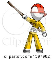 White Firefighter Fireman Man Bo Staff Pointing Up Pose