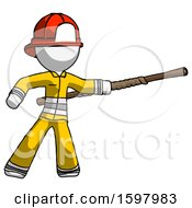 White Firefighter Fireman Man Bo Staff Pointing Right Kung Fu Pose