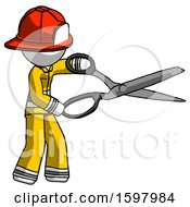 White Firefighter Fireman Man Holding Giant Scissors Cutting Out Something