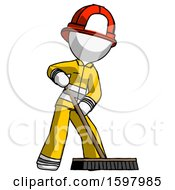 White Firefighter Fireman Man Cleaning Services Janitor Sweeping Floor With Push Broom