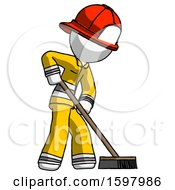 White Firefighter Fireman Man Cleaning Services Janitor Sweeping Side View