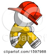 White Firefighter Fireman Man Sitting With Head Down Facing Sideways Right