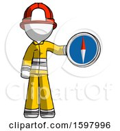 White Firefighter Fireman Man Holding A Large Compass