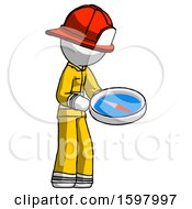 White Firefighter Fireman Man Looking At Large Compass Facing Right