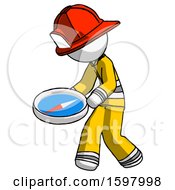 White Firefighter Fireman Man Walking With Large Compass