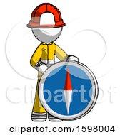 White Firefighter Fireman Man Standing Beside Large Compass