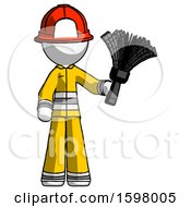White Firefighter Fireman Man Holding Feather Duster Facing Forward