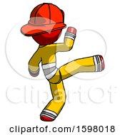 Red Firefighter Fireman Man Kick Pose