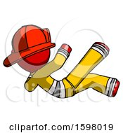 Red Firefighter Fireman Man Falling Backwards
