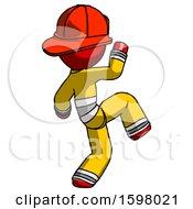 Red Firefighter Fireman Man Kick Pose Start