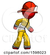 Red Firefighter Fireman Man Suspense Action Pose Facing Right