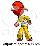 Red Firefighter Fireman Man Suspense Action Pose Facing Left