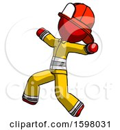 Red Firefighter Fireman Man Running Away In Hysterical Panic Direction Left