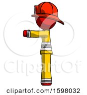 Red Firefighter Fireman Man Pointing Left