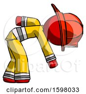Poster, Art Print Of Red Firefighter Fireman Man Picking Something Up Bent Over